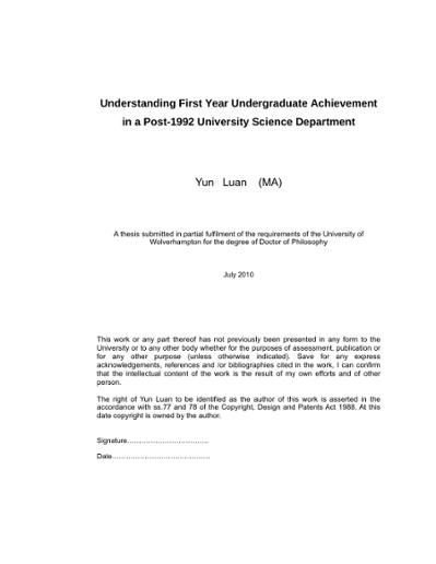 Understanding First Year Undergraduate Achievement In A Post