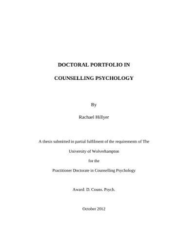 Doctoral Portfolio In Counselling Psychology