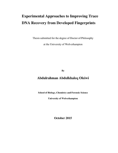 Experimental Approaches to Improving Trace DNA Recovery from