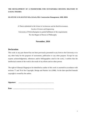 November, 2014 Declaration