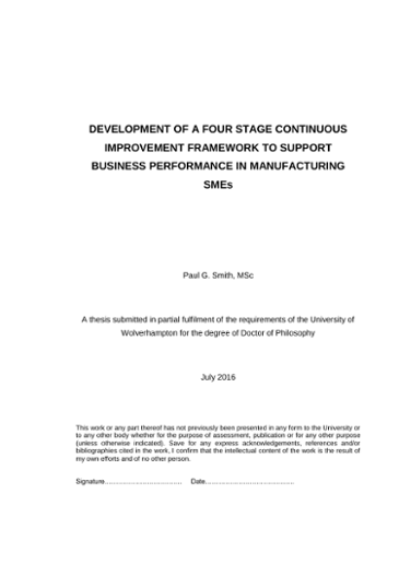 DEVELOPMENT OF A FOUR STAGE CONTINUOUS