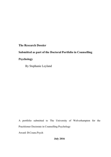 The Research Dossier Submitted as part of the Doctoral
