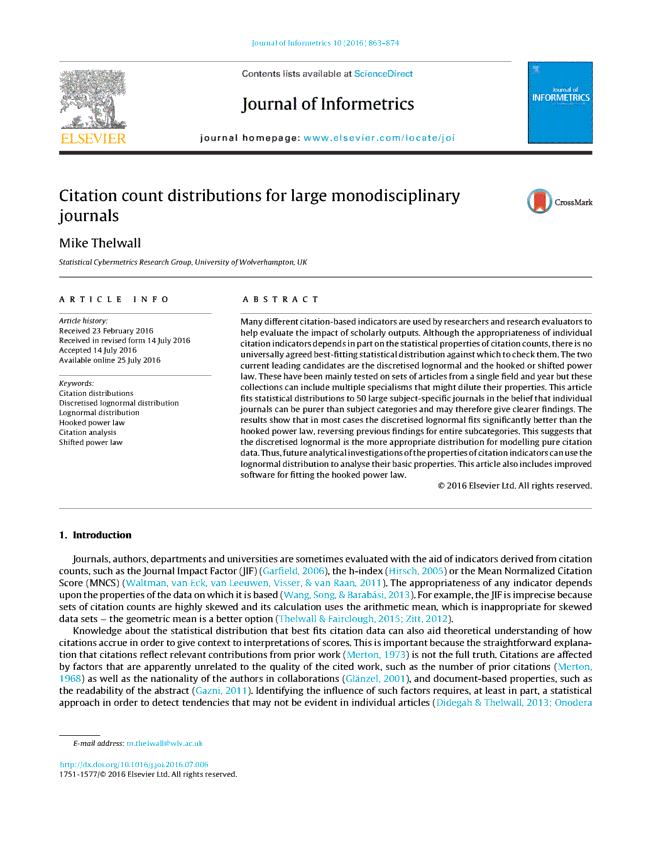 Citation count distributions for large monodisciplinary journals