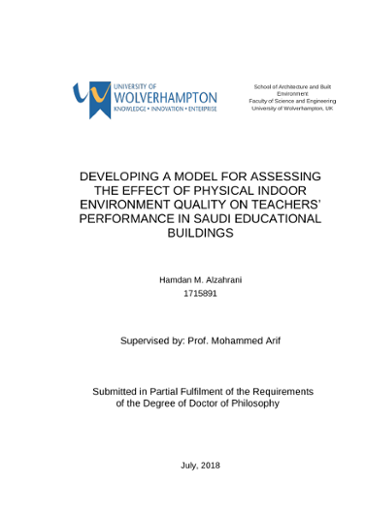 Developing A Model For Assessing The Effect Of Physical