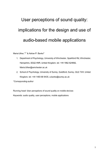 User perceptions of sound quality: implications for the design and