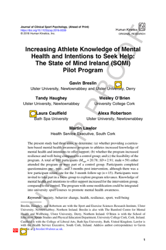 Increasing athlete knowledge of mental health and intentions to seek