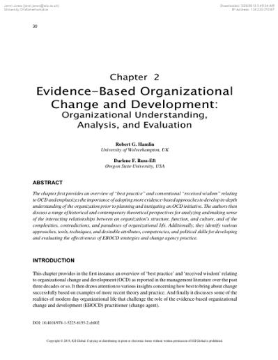 Evidence Based Organizational Change And Development