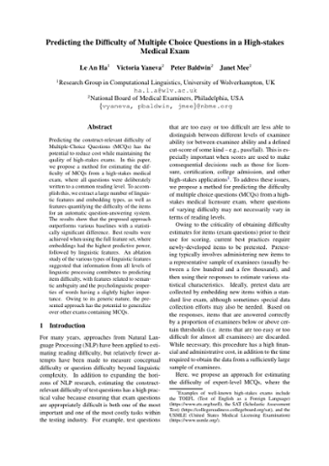 Predicting the difficulty of multiple choice questions in a