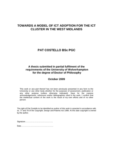 Dissertations in ict can you use questions in a thesis statement